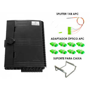 Kit para Atendimento FTTH com Splitter 1x8 SC/APC  (CTO 16 Portas OT-8906-CT)