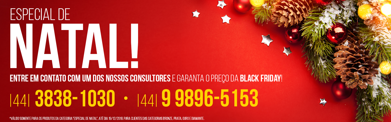 Especial de Natal! Garanta os preços das Black Friday entrando em contato com um de nossos consultores!