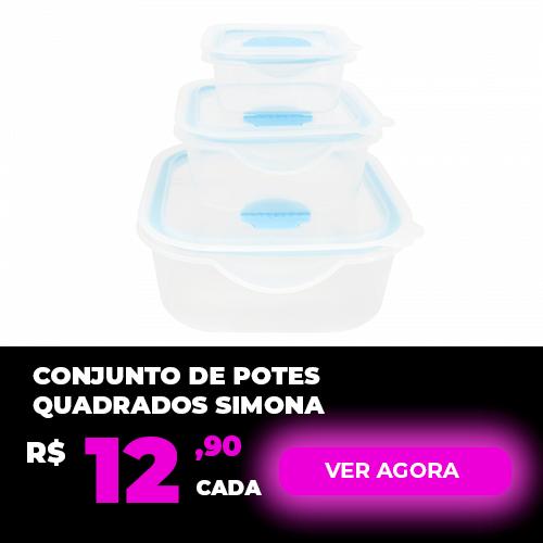 Conjunto de Potes de Plástico Quadrados 3 Unidades Simona