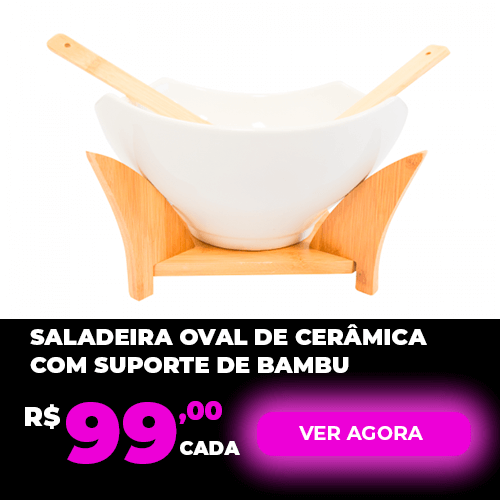 Saladeira Oval De Cerâmica Com Suporte De Bambu Simona