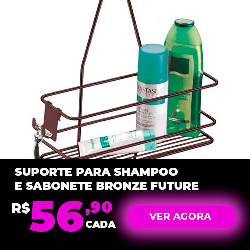 Suporte para Shampoo e Sabonete de Registro com Gancho Móvel Bronze Future