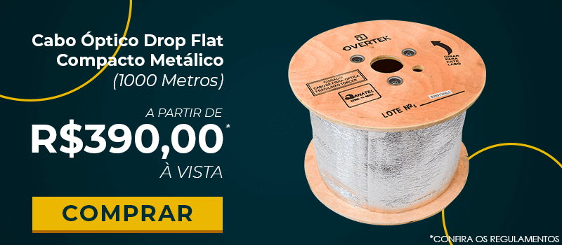 Cabo Óptico Drop Flat Compacto Metálico (1000 Metros)Máquina de Fusão de Fibra Óptica Overtek OT-7500-MF