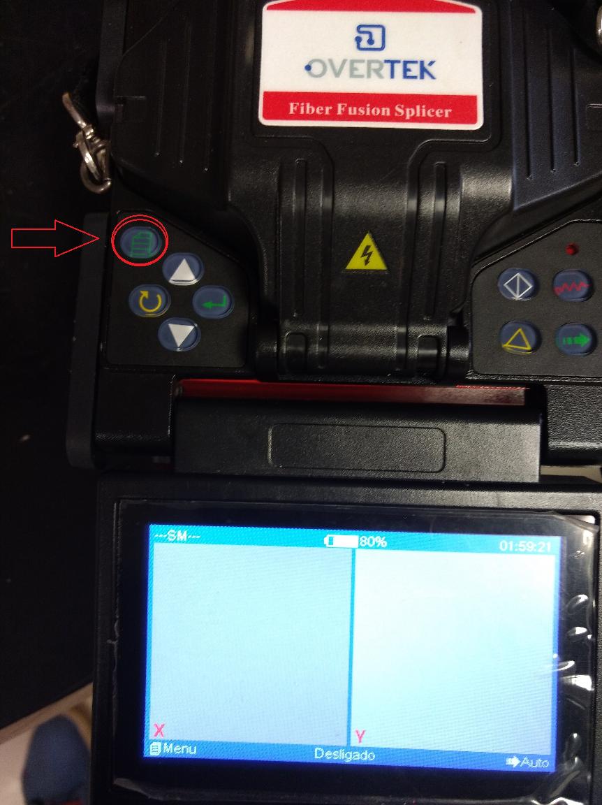 Detalhe do Botão MENU na máquina de fusão OT-7400