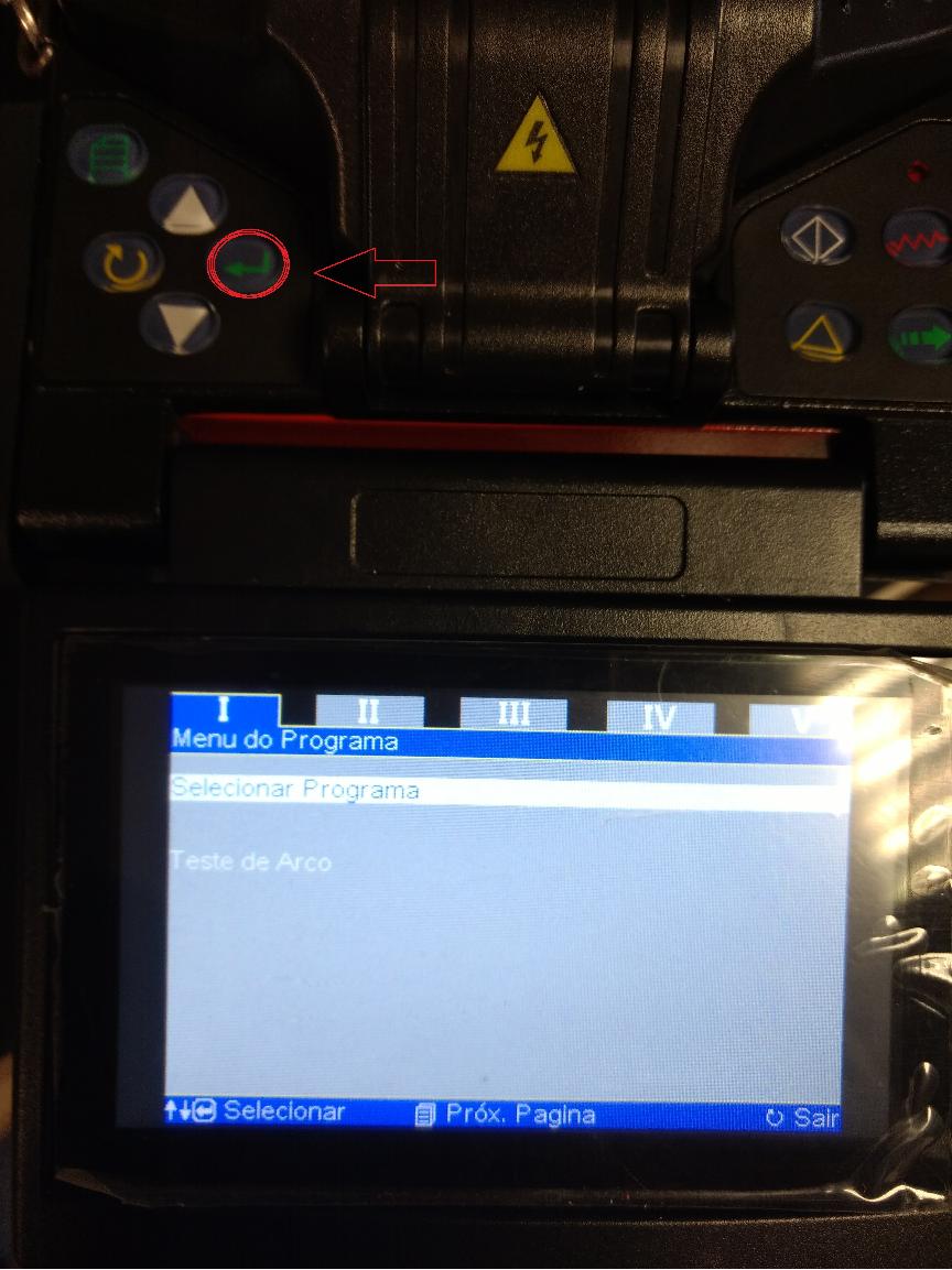 Imagem mostrando no LCD da máquina de fusão como selecionar a opção Selecionar Programa